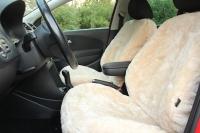 Autofell mit Airbagnaht im Sitz (Beige)