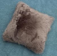 Lammfell Kissen grau braun (Stone)