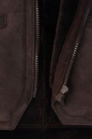 Lammfellweste braun/grau (Übergröße Gr. 5)